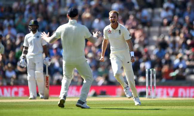 It was Broad once again who gave England the breakthrough after breaching Rahul's defences and making a mess of his stumps.