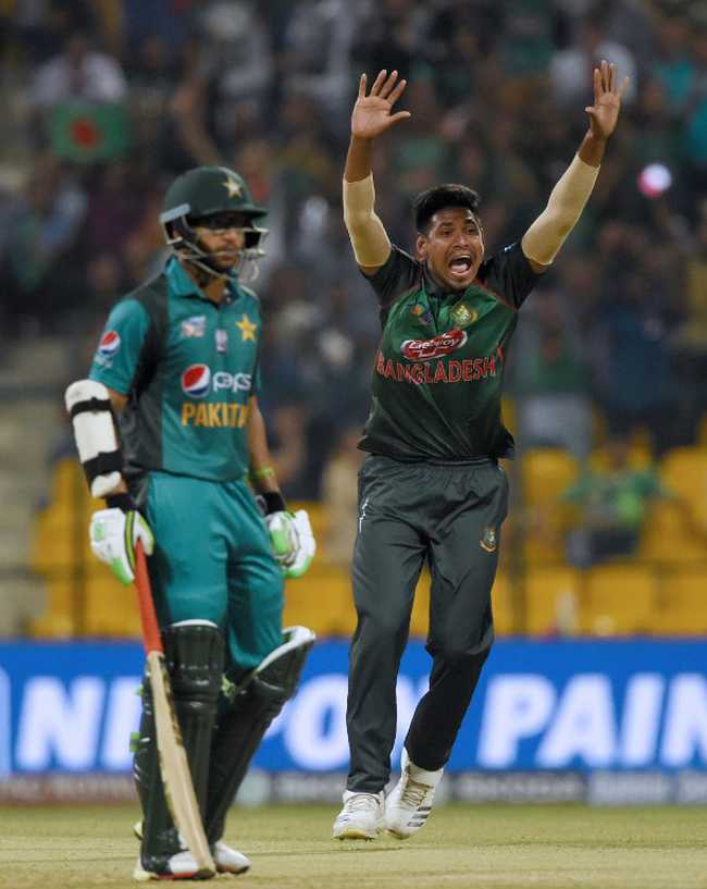 Pakistan lose their top three early in the 240-run chase. Mustafizur picked Babar Azam and Sarfraz Ahmed after Mehidy Hasan struck in his opening over with Fakhar Zaman's wicket.