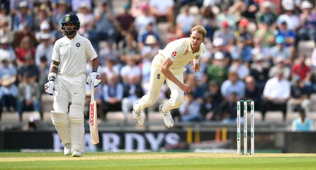 Stuart Broad was rewarded for some consistent bowling upfront to get rid of KL Rahul four overs in to play on Day 2.