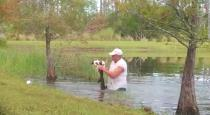 Man saved dog from alligator viral video