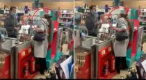 Women spite on super market sales man viral video