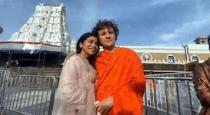 shreya with husband at thirupathi photo viral