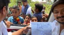 Kids gave letters to DMK Udhayanithi stalin viral photos