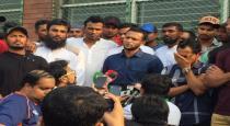 Bangladesh cricket players on strike