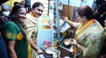 Kushboo makes tea when meets voters house