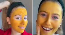Women face turned into yellow after applying turmeric mask