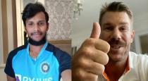 Warner wishes Natarajan in Tamil viral video