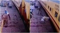 Railway police saved old man from train accident viral video