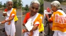A 68 year old Marathi lady travel 2200 km by cycle